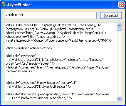 HTTP Client Using WININET Asynchronously | Veridium Software