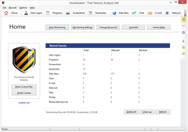 Click to view HomeGuard Activity Monitor 1.7.1 screenshot