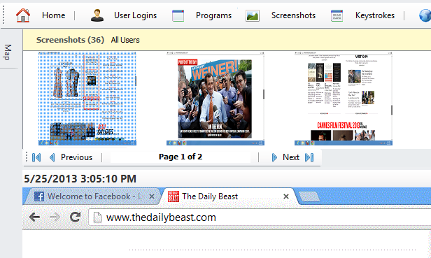 Activity based screen capture and Time based screen capture. Gallery view and full view.